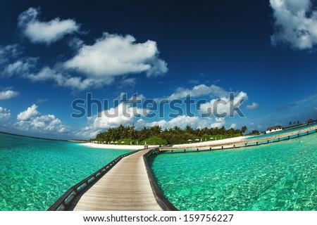 Wide angle of Maldivian resort #159756227