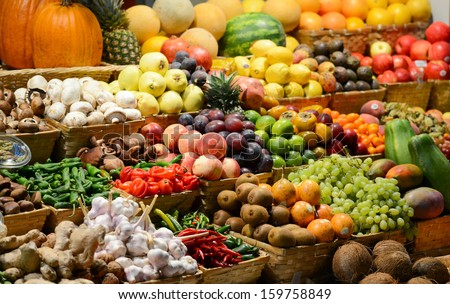 Fruit market with various colorful fresh fruits and vegetables - Market series #159758849
