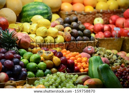 Fruit market with various colorful fresh fruits and vegetables - Market series #159758870