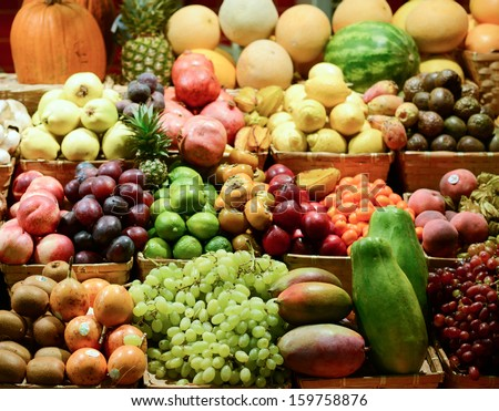 Fruit market with various colorful fresh fruits and vegetables - Market series #159758876