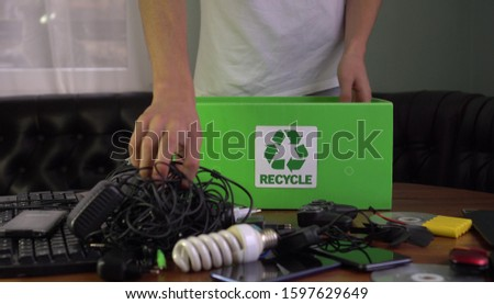 E-waste - used electronics which are destined for refurbishment, reuse, resale, salvage recycling through material recovery, or disposal.  Hazardous Electronic waste #1597629649