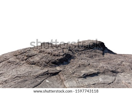 Cliff stone located part of the mountain rock isolated on white background. Royalty-Free Stock Photo #1597743118