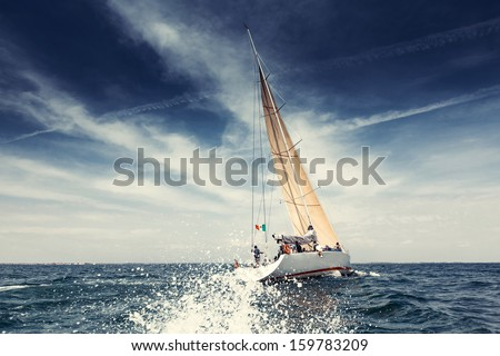 Sailing ship yachts with white sails Royalty-Free Stock Photo #159783209