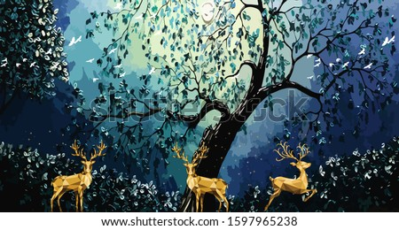 3d modern art mural wallpaper with dark blue background . golden deer, black christmas tree with white birds . Suitable for use as a frame on walls