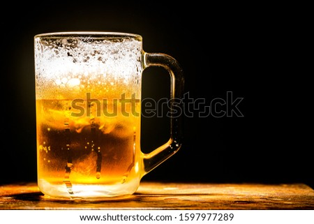 Beer near brick wall,Beer - Alcohol, Frothy Drink, Pub, Bar - Drink Establishment, Alcohol,Glass lager beer. Soft focus. Shallow DOF,Beer - Alcohol, Bar - Drink Establishment, Pint Glass, Cider, No Pe #1597977289
