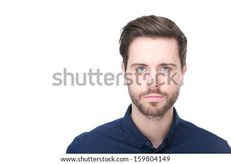 Close up portrait of a confident young man with beard looking at camera #159804149