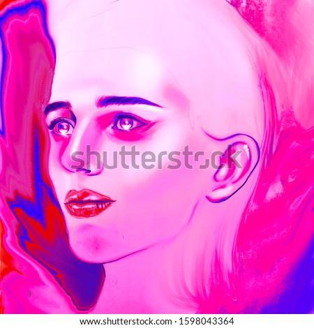 Digital portrait woman .Bright color . #1598043364