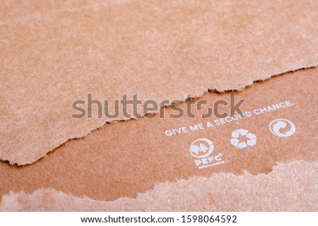 World resources concept. Reusing paper-based products. Ecological problems. Reusing concept. Recycle icons on brown paper. Give me a second chance. Save planet background. Ecology and human consume #1598064592