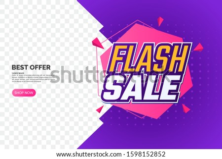 Flash sale promotion banner with text and geometric backdrop. Creative discount label template. Sale sticker design. Corner composition isolated on transparent background. Vector eps 10 #1598152852