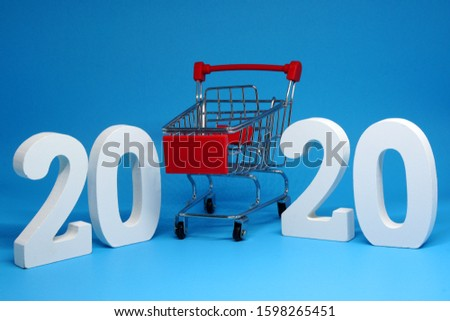 Shopping Cart isolated blue background with happy new year 2020 - Business Shopping stores to buy goods concept  #1598265451