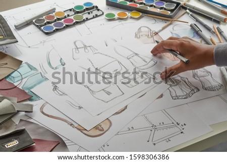 Designer stylish sketch Drawn design template pattern made leather clutch bag handbag purse Woman female Fashionable Fashion Luxury Elegant accessory.                                #1598306386