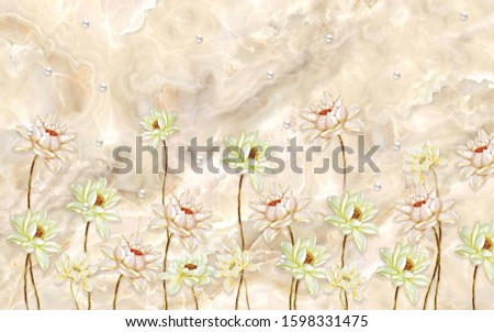 3d illustration, beige marble background, pearls, large flowers on thin stems #1598331475