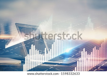 Stock market chart hologram drawn on personal computer background. Multi exposure. Concept of investment. #1598332633