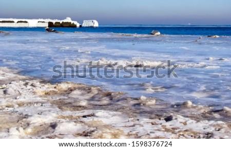 Background of the frozen sea coast.                         #1598376724