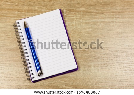 Note book and pen with blank page #1598408869