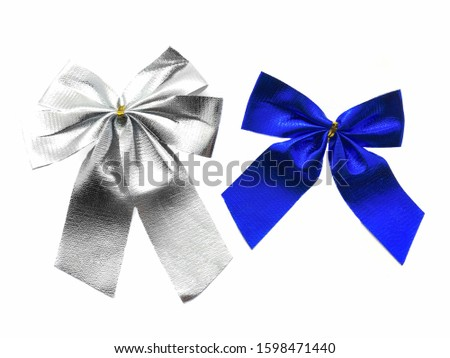 Blue bow and gray bow isolated on white background. Holiday bows. Gift bows. New Year's ribbons. Set of bows. Composition of festive ribbons. #1598471440
