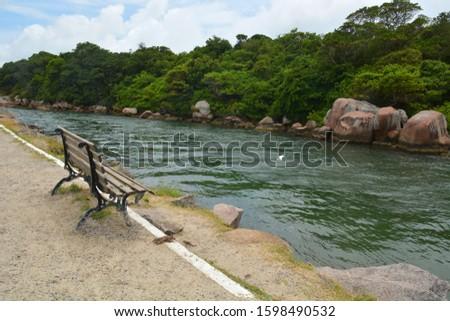 Canal at Barra da Lagoa area of Lagoa da Conceicao, Florianopolis, Santa Catarina, Brazil  #1598490532