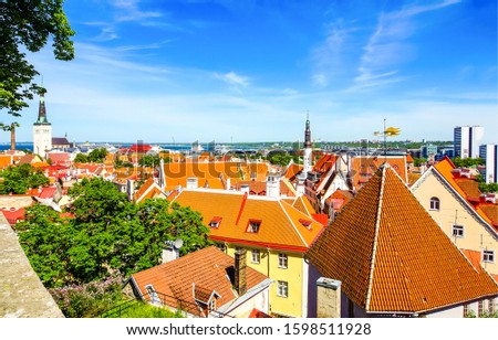 Prague city house roof view. Red tiled roofs in Prague. Prague roofs. Prague city roof Czechoslovakia #1598511928