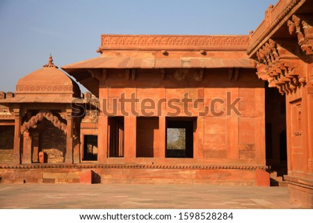 Fatehpur Sikri, was the political capital of India's Mughal Empire under Akbar's reign, from 1571 until 1585 #1598528284