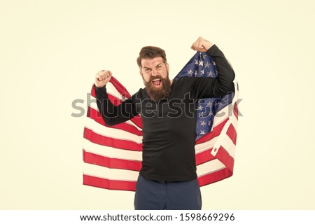 Proud citizen celebrate independence 4th of july. Independence concept. Career growth. Man hold american flag. Country opportunities. National holiday. Hipster bearded guy celebrate independence day.