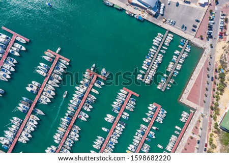 Aerial view of the seaport near the town of Campello. Spain #1598682220