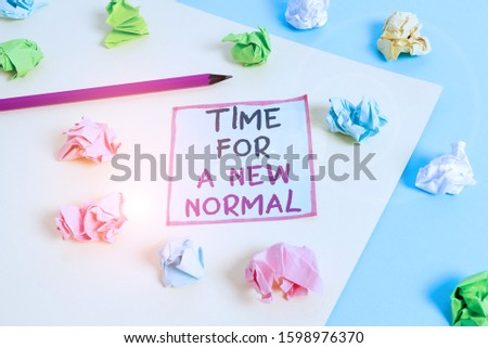 Word writing text Time For A New Normal. Business concept for Make a big dramatic change Replace the expected Colored crumpled papers empty reminder blue yellow background clothespin. Royalty-Free Stock Photo #1598976370
