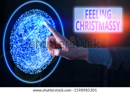 Text sign showing Feeling Christmassy. Conceptual photo Resembling or having feelings of Christmas festivity Elements of this image furnished by NASA. #1598985301