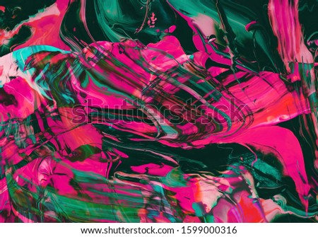 Mixing dark pink and green Color abstract painting background of Art Ink Paint Explode Colorful Fantasy Spread #1599000316