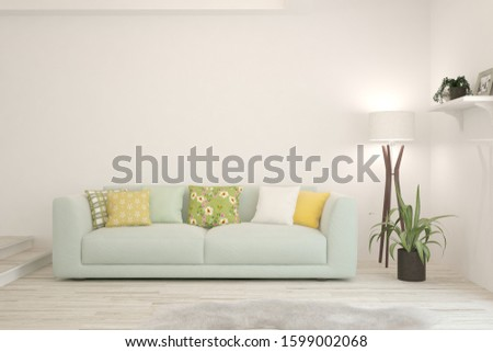 Stylish room in white color with sofa. Scandinavian interior design. 3D illustration #1599002068