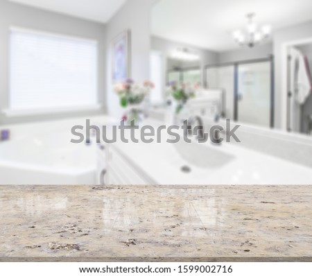 Table Top And Blur Bathroom Of The Background #1599002716