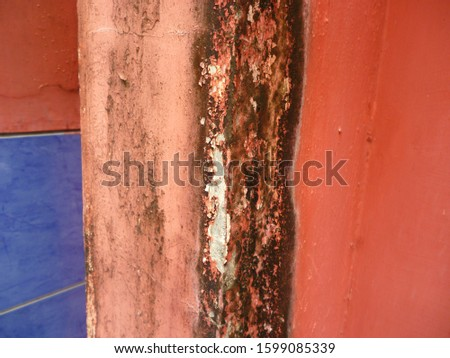 grunge background. abstract halftone wall. Distressed overlay texture of rusted peeled metal #1599085339