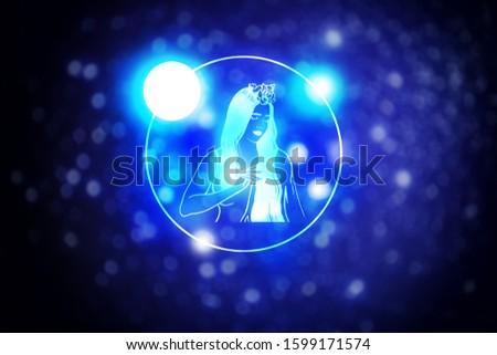 Astrology sign Virgo against starry sky