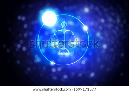 Astrology sign Libra against starry sky