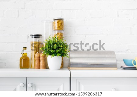 modern white kitchen interior with breadbox, pasta, oil and green plant near brick wall #1599206317