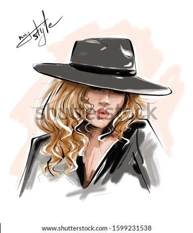 Hand drawn beautiful young woman in hat. Stylish blonde hair girl. Fashion woman look. Sketch.