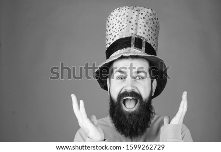 Saint patricks day holiday. Happy patricks day. Global celebration. St patricks day holiday known for parades shamrocks and all things Irish. Man bearded hipster wear hat. Green part of celebration. #1599262729