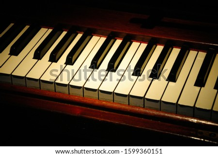 Keyboard of the portable upright piano #1599360151