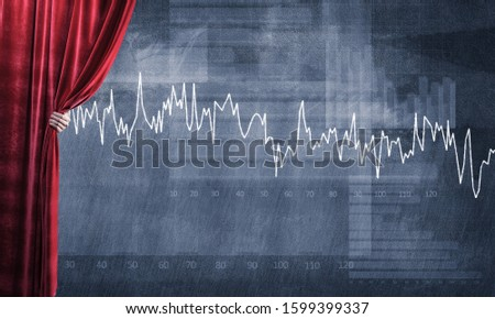 Close up of businessman hand open red velvet curtain to infographs #1599399337