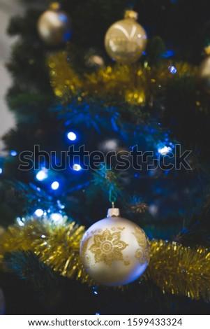 Christmas card background. Christmas tree, bauble, LED lamp #1599433324