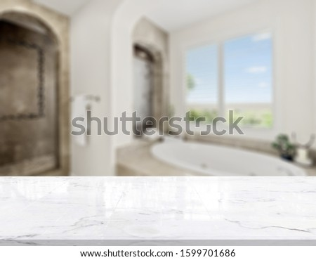 Table Top And Blur Bathroom Of The Background #1599701686