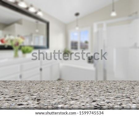 Table Top And Blur Bathroom Of The Background #1599745534