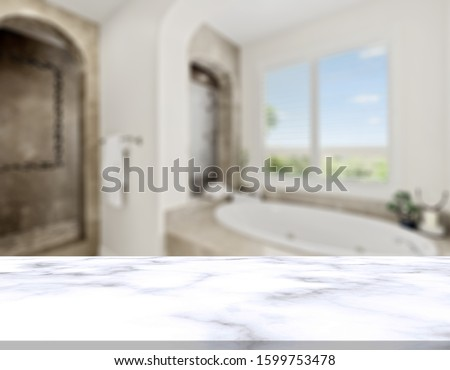 Table Top And Blur Bathroom Of The Background #1599753478