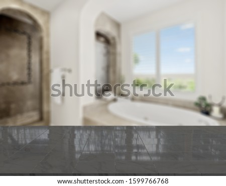 Table Top And Blur Bathroom Of The Background #1599766768