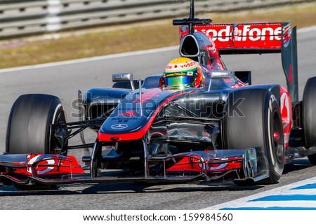 JEREZ DE LA FRONTERA, SPAIN - FEB 10: Lewis Hamilton of McLaren F1 races on training session on February 10 , 2012, in Jerez de la Frontera , Spain #159984560