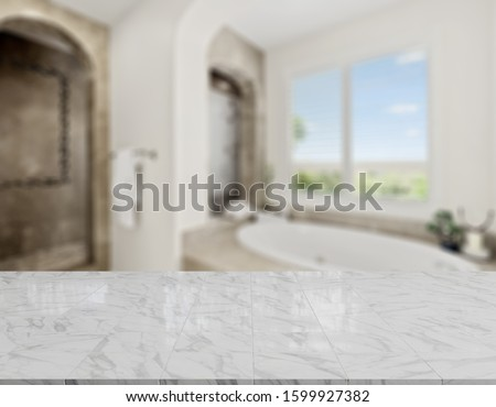 Table Top And Blur Bathroom Of The Background #1599927382