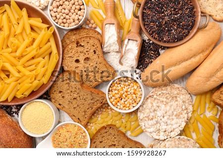 gluten free assortment, bread, pasta and flour Royalty-Free Stock Photo #1599928267