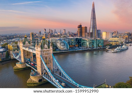 Aerial view of the Tower Bridge in London. One of London's most famous bridges and must-see landmarks in London. Beautiful panorama of London Tower Bridge. #1599952990