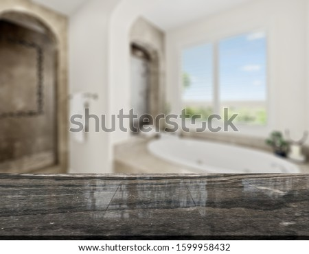Table Top And Blur Bathroom Of The Background #1599958432