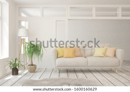 Stylish room in white color with sofa. Scandinavian interior design. 3D illustration #1600160629