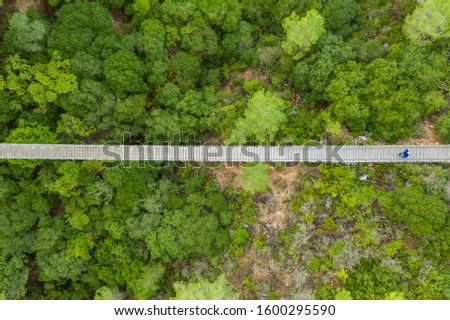 Aerial view of an suspension bridges #1600295590